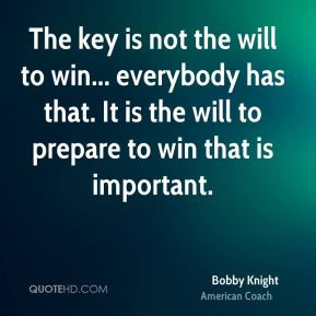 ... will to win everybody has that it is the will to prepare to win that