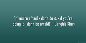"""... , – if you're doing it – don't be afraid!"""" – Genghis Khan"""
