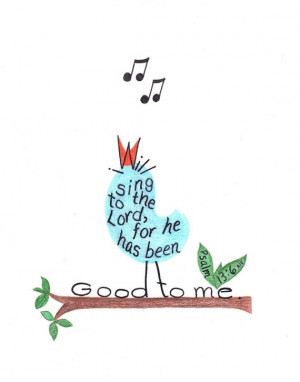 Inspirational Art Print Singing Bird Bible Verse