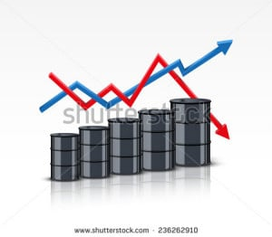 Oil barrel on the background graphics prices. The rise in price and ...