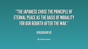 The Japanese chose the principle of eternal peace as the basis of ...