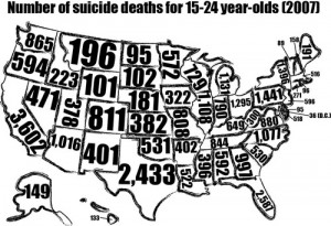 Map outlining the number of U.S suicide deaths per state for 15-24 ...
