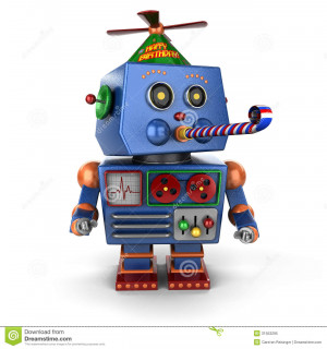 Funny toy robot wearing a happy birthday hat and blowing a party favor ...
