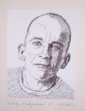 Artista usa palavras para desenhar rostos de escritores
