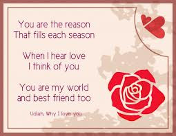 ... Love I Think of You, You Are My World And Best Friend Too ~ Love Quote