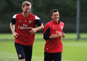 ... for the first time at Arsenal, with Germany team-mate Per Mertesacker