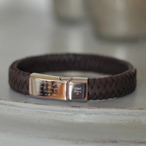 Engraved Men's Leather Message Bracelet