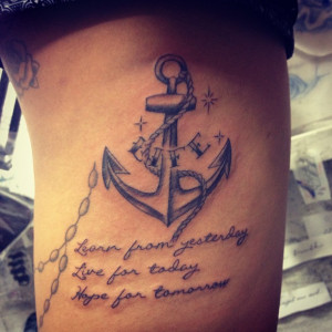 Anchor Sayings Tattoos Life anchor n rope tattoo with