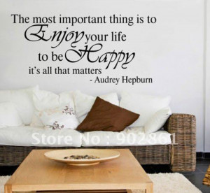 Audrey Hepburn Wall Quote Enjoy Your Life Decal Sticker China