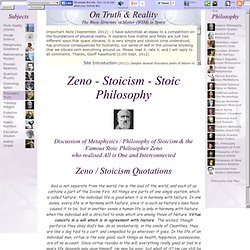Stoicism Philosophy: Metaphysics of Stoicism, Ethics. Quotes Stoic ...