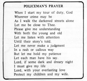 1976--Policeman's Prayer, included in 1976 yearbook
