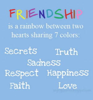 Rainbow Between Two Hearts Sharing Friendship Quotes Daily