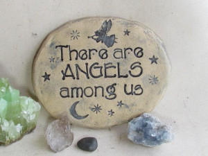 Garden stone inscribed with ANGEL Quote ~ Celestial Moon and stars ...