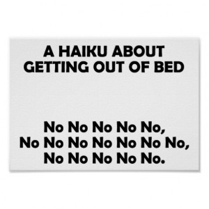 Haiku Getting Out Of Bed Funny Poster