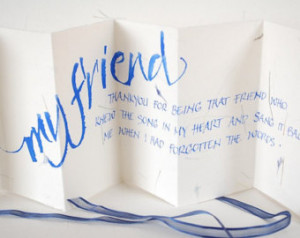 My Friend, thank you card, friends quote, handwritten card, blue petal ...