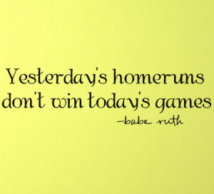 Babe Ruth Yesterday's Homeruns Wall Decal Item - Trading Phrases