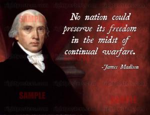 James Madison Anti-War Quote Poster