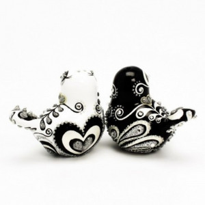 Black And White Love Birds Wedding Cake Topper