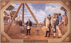 George Washington performing a Masonic ritual in 1793
