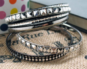 Club'n Bracelet Bangles Silver Toned with Black Accents Mix and Match ...