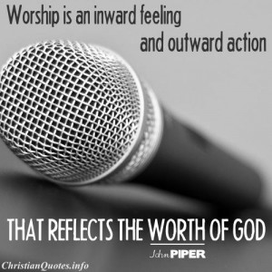 John Piper Quote - Worship - black and white microphone