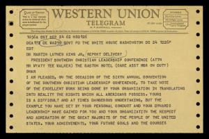 Telegram from President Kennedy to MLK