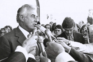 gough whitlam with mic