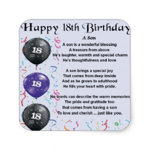 Happy 18th Birthday Son Poem Son poem 18th birthday