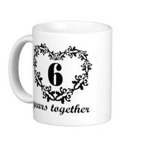 6th Anniversary 6 Years Together Heart Gift Mug