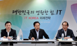 ... Lee Myung Bak talking at a recent strategy meeting to promote the