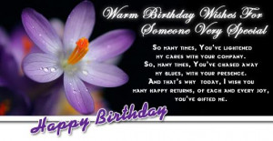 Warmest Birthday Wishes for someone very special