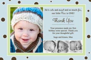 Max First Birthday Thank You Cards
