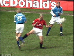 ... shown a red card for his terrible tackle on Haaland at Old Trafford