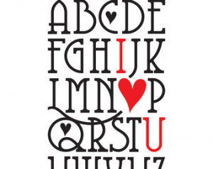 ... Alphabet I Love You Wall Quote - Vinyl Wall Art Decal Saying Lettering