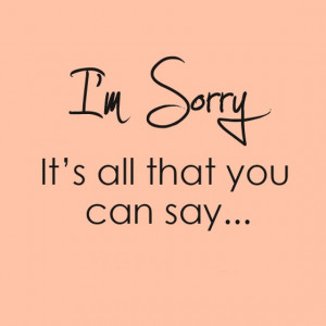 am sorry Its all that you can say