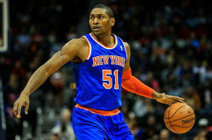 ... knicks small forward metta world peace 51 dribbles down the court in