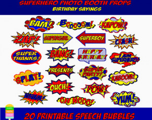 ... Superhero Text-Superhero Birthday-Superhero Photo Booth-Instant