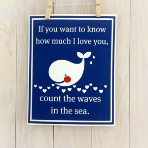 Whale nursery decor- baby boy, navy blue, beach, inspirational quote ...
