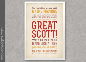 Great Scott - Back to The Future Quotes - Typographic Print - 13x19