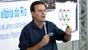 Rio's mayor Eduardo Paes speaks during a press conference at the ...