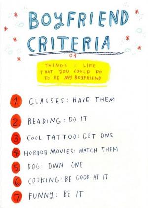 boyfriend, cooking, cool, criteria, cute, dog, funny, glasses, horror ...