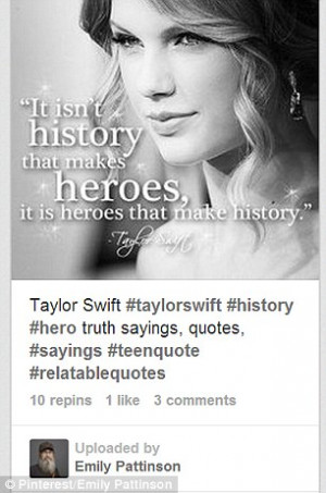 Who Said That? Taylor Swift's picture is adorned with a quote from ...
