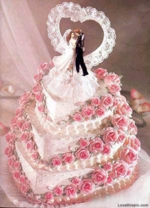 Triple layer rose wedding cake