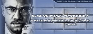 You can't separate peace from freedom because no one can be at peace ...