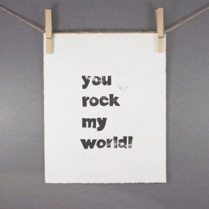 You Rock My World Typography Block PRINT in by RetroModernArt, $20.00