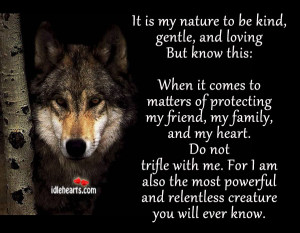 It Is My Nature To Be Kind, Gentle, And Loving But Know This: