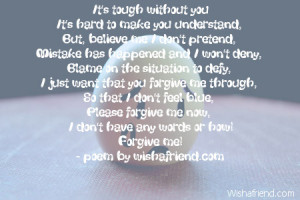 It's tough without youIt's hard