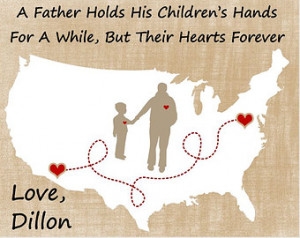 Fathers Day Gift For Dad Birthday Long Distance Map Hearts Quote ...