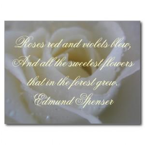 White Rose Edmund Spenser Quote Postcard