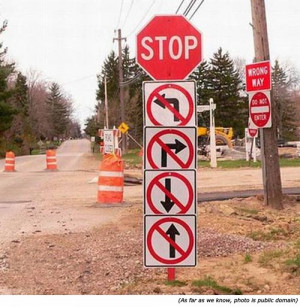 Hilarious signs and funny traffic signs: STOP. No left turn. No right ...